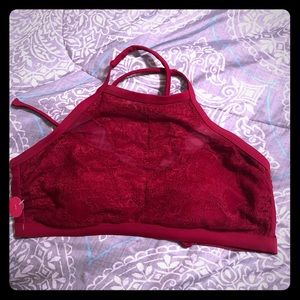 Red Xhileration high neck lace bikini top